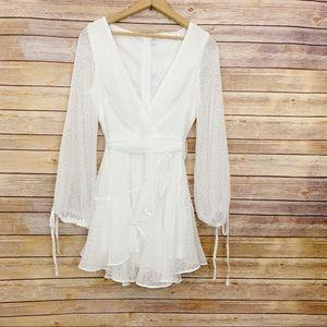 Saints + Secrets White Sheer Layer Flared Dress